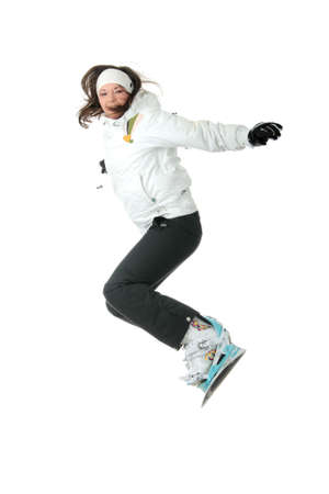 air jump: Young woman on snowboard jumping isolated on white background