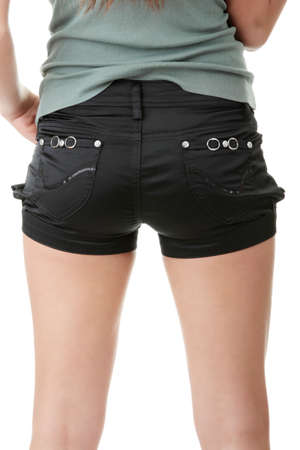 hot ass: Shorts on woman, isolated on white background Stock Photo