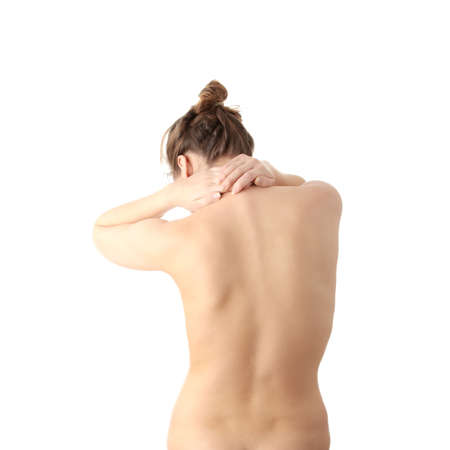 Nude woman with neck pain , isolated on white background  photo