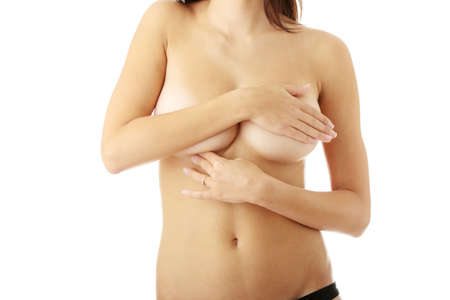 breast examination: Breast cancer concept over white background