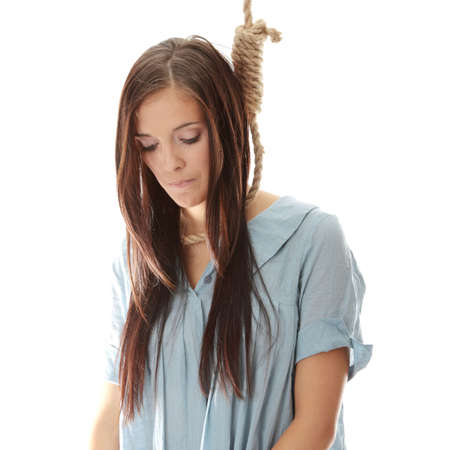 impiccata: Giovane donna indoeuropea andando a essere impiccato