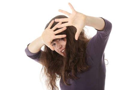 Emocional retrato de mujer de víctimas de abusos, hermosa, adolescente, caucásicos en ropa interior - concepto de violencia, alta emocional  Foto de archivo - 6610989