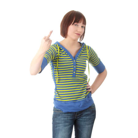 obscene: Teen girl with middle finger up, isolated on white backgound Stock Photo