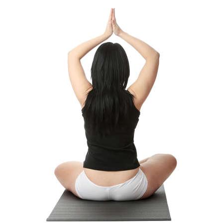 beleibt: Korpulente Frau Training Yoga, over white background