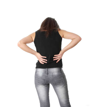 Back pain concept. Isolated on white background  photo