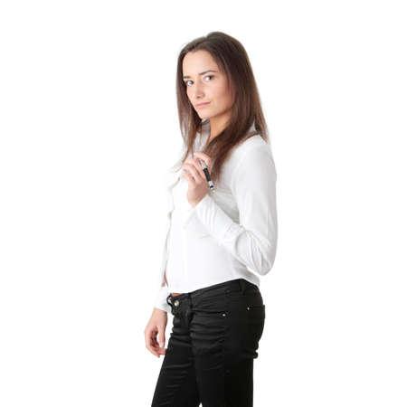 isoalated: Businesswoman with pen isoalated on white background