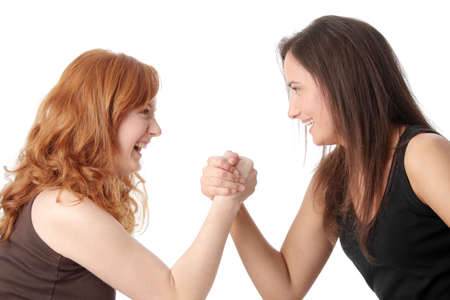 Two womans hands fight, isolated on white background Stock Photo - 6613404