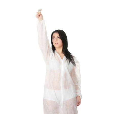 corpulent: Corpulent female painter - isolated over white  Stock Photo
