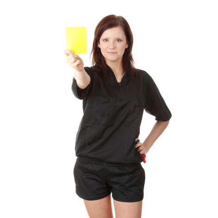 Young female referee showing the red card, isolated on white photo