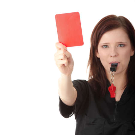 whistle: Young female referee showing the red card, isolated on white Stock Photo