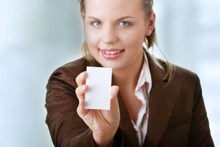 Lady with blank business card photo
