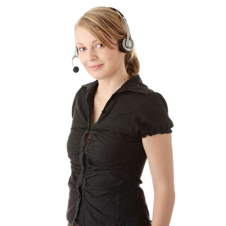 Young call center worker, isolated on white background Stock Photo - 6626598