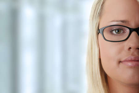 glases: Young beautiful blond woman in glases  Stock Photo