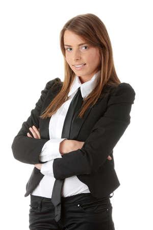 mujer con corbata: Joven empresaria cauc�sicos aislada sobre fondo blanco