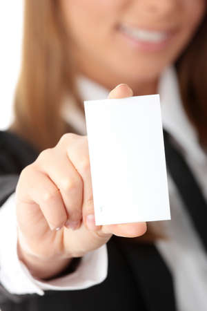 Attractive Businesswoman Closeup - presenting her business card   Stock Photo - 6932599