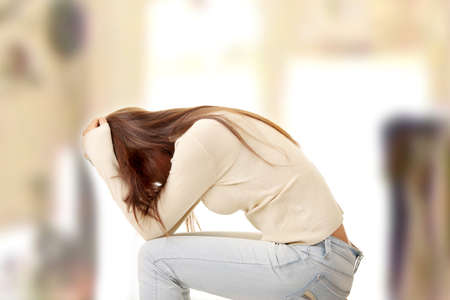 sad lonely girl: Teenage girl depression - lost love - isolated on white background Stock Photo