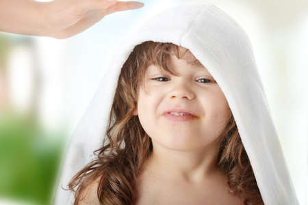 bathtubs: Portrait of a 5 year old girl after bath, isolated on white background
