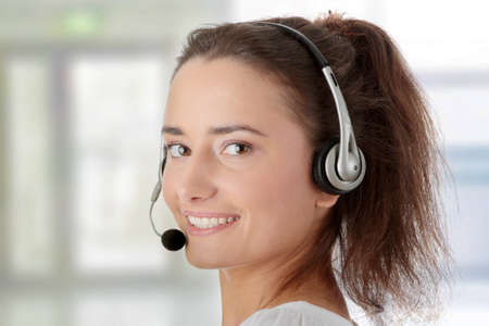 Young woman - call center worker photo