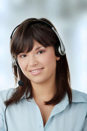 Young beautiful caucasian woman working in call center Stock Photo - 6931912