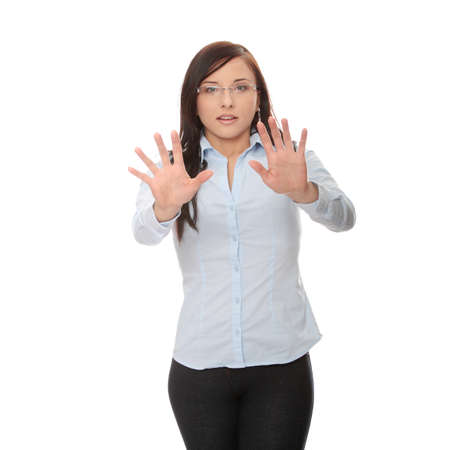 Young scared caucasian businesswoman , isolated on white background Stock Photo - 6931700