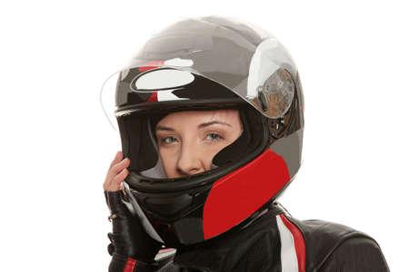 casco moto: Chica de motociclista sobre fondo blanco Foto de archivo