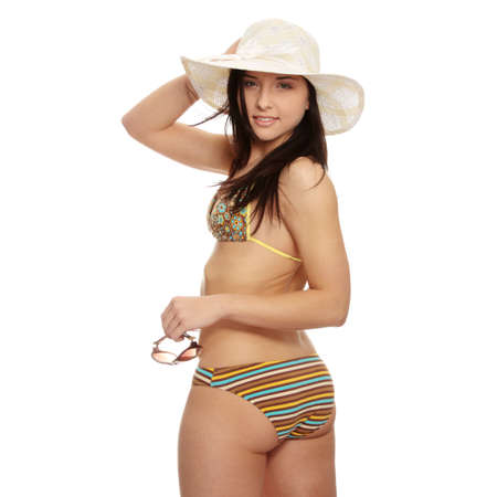 teen girl face: Summer woman in swimsuit and hat
