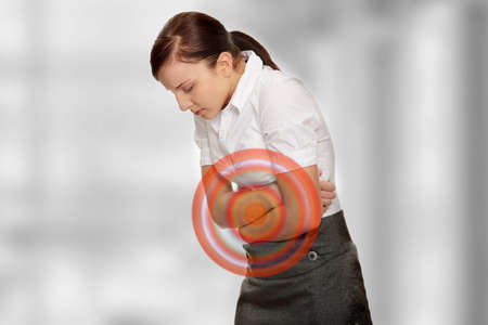 stomachache: Young woman with stomach issues
