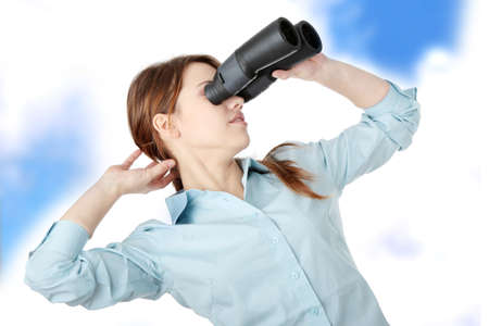 Young business woman with binoculars Stock Photo - 6931963