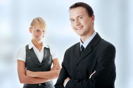 Young attractive business people isolated Stock Photo - 7816431