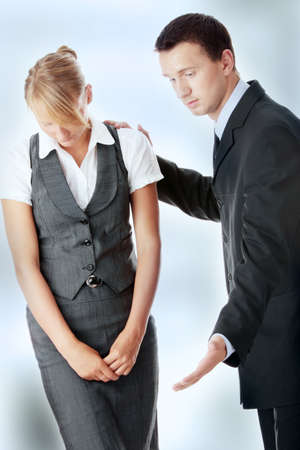 Two work colleagues arguing (male and female) Stock Photo - 7816423
