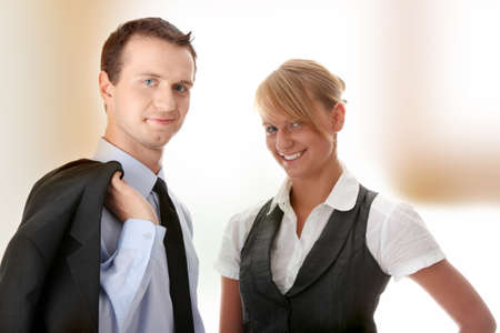 Young attractive business people isolated Stock Photo - 7816430