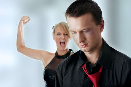 beat women: Man and woman conflict.Violence concept