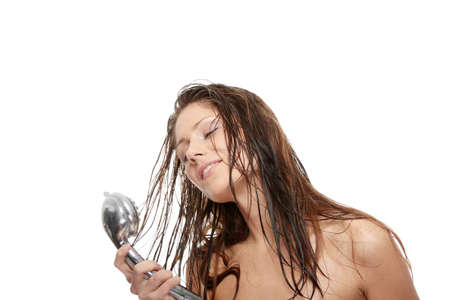 wet hair: Young woman singing under shower, isolated on white Stock Photo