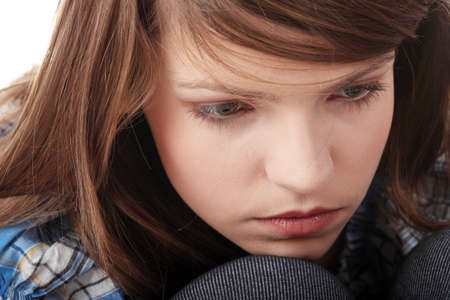 lost love: Teenage girl depression - lost love - isolated on white background  Stock Photo