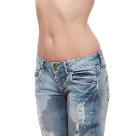 pee: Young woman body in jeans - wet because of pee  shock, scare,illness or laughing   Stock Photo