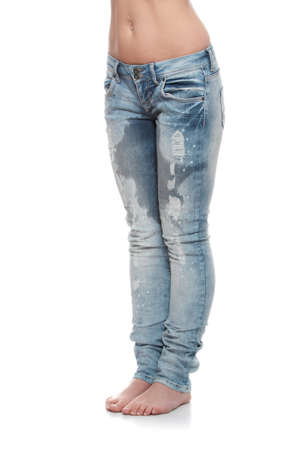 wet: Young woman body in jeans - wet because of pee  shock, scare,illness or laughing   Stock Photo