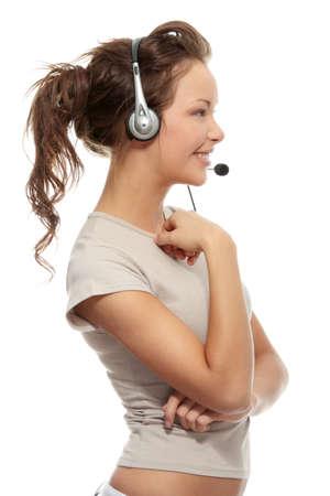 Blauflügel-Callcenter-Frau wearing ein Telefon-Headsets, auf weißen Hintergrund isoliert  Standard-Bild - 6933051