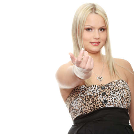 closer: Young blonde girl is encouragin to come closer, showing finger gesture  Isolated on white