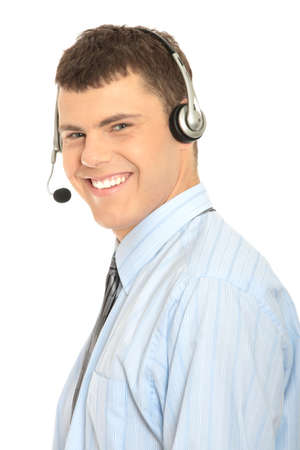 Charming customer service representative with headset on isolated on white background Stock Photo - 7501231