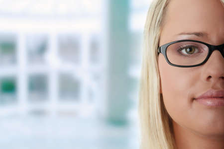 glases: Young beautiful blond woman in glases