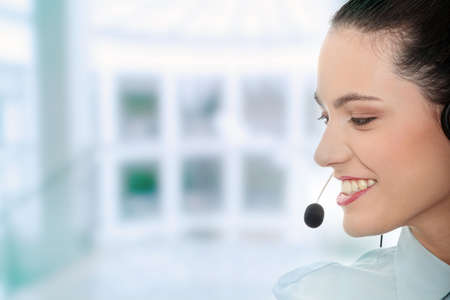 Call center woman with headset. Stock Photo - 7568732