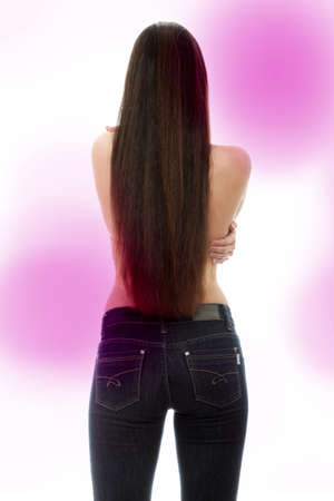 Back of young woman with long hairs dressed in jeans Stock Photo - 7568033