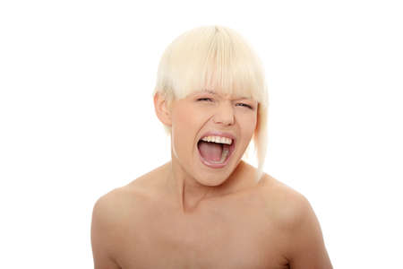 Portrait of gorgeous blonde female screaming isolated on white Stock Photo - 7504161