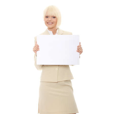 Woman holding blank sign isolated on white Stock Photo - 7504220