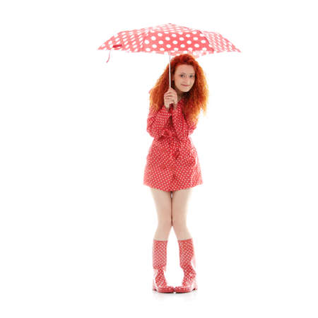 redhead: Rainy woman in red, isolated on white background