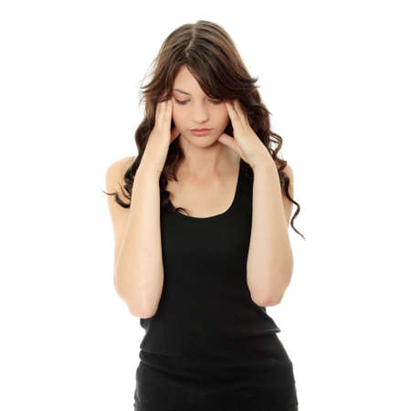 headaches: Woman with headache holding her hand to the head, isolated on white Stock Photo