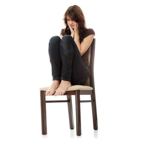 depresi�n: Joven y bella mujer con depresi�n aislado en blanco