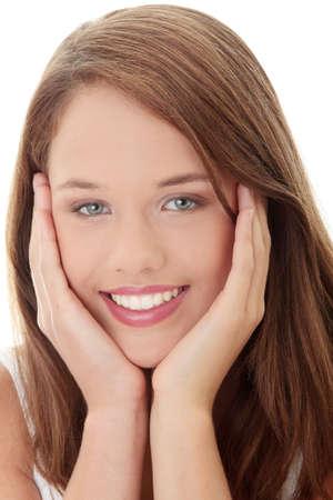 adolescentes estudiando: Isoalted de la ni�a adolescente sobre fondo blanco  Foto de archivo
