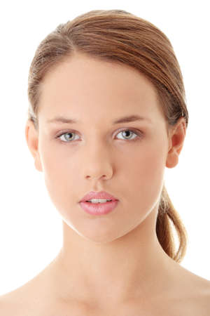 Beautiful womans face with fresh clean skin - isolated on white background  Stock Photo