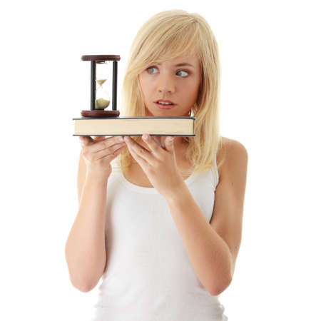 pass test: Dont have time to learn - teenager with book and hourglass